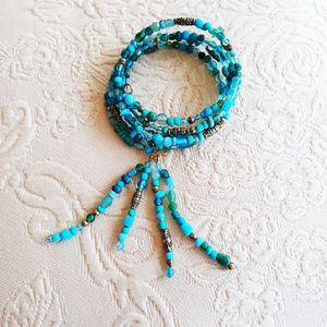 NEW! 5 Coil Wrap Bracelet w Tassel - Fits Any Size